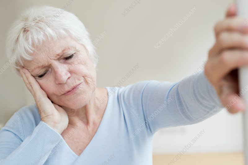 Senior woman with headache