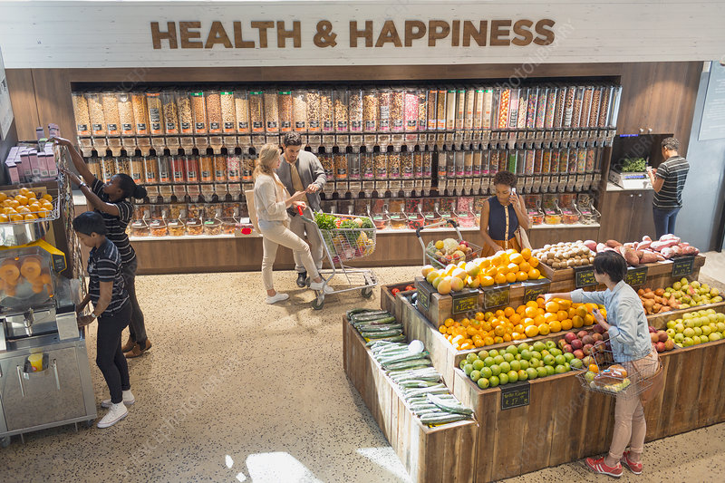 View of people in health food store