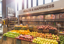 Organic fruits, vegetables in health food store