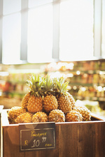 Pineapples on display in market
