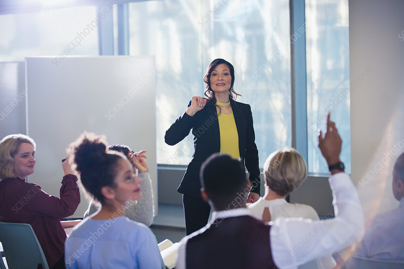 Businesswoman leading meeting