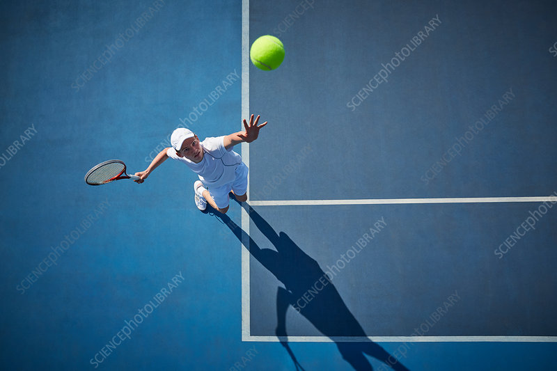 Overhead view of tennis player playing tennis