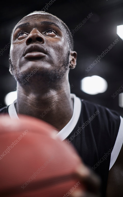 Close up basketball player with basketball