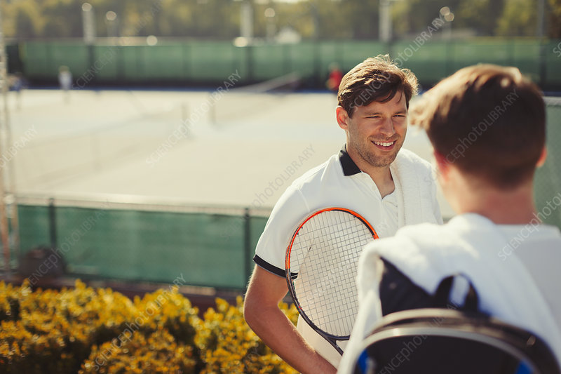 Young tennis players talking