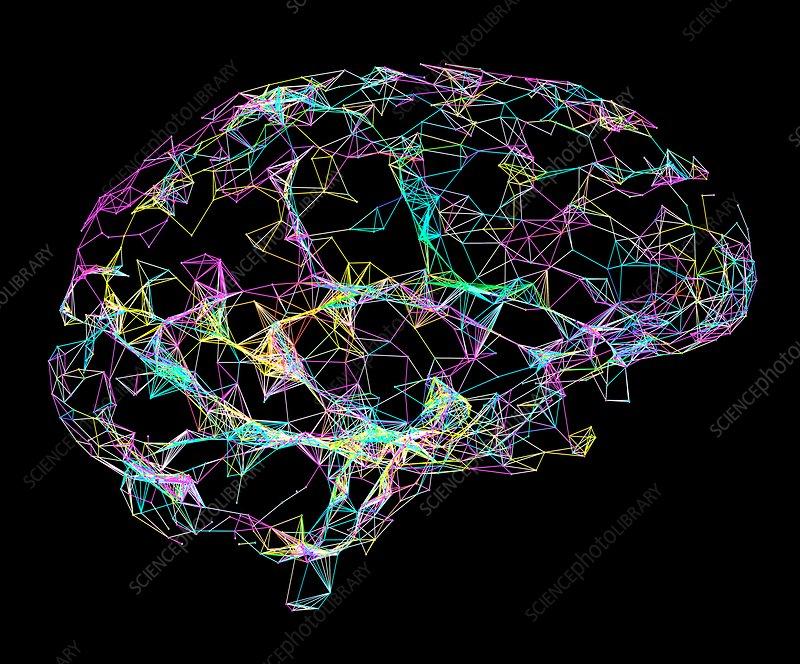 Brain, broken neural network, illustration