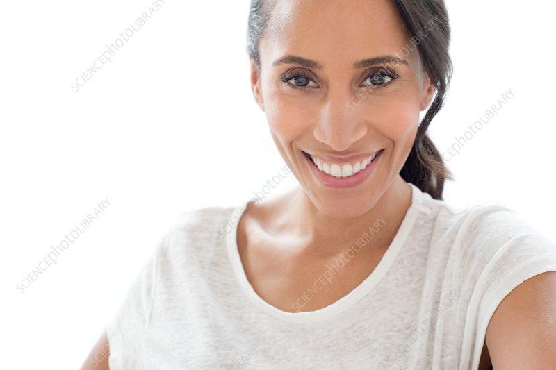 Woman smiling towards camera