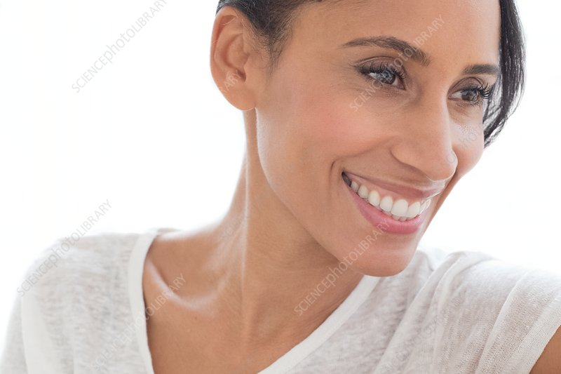Woman smiling and looking away