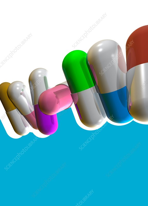 Colourful capsules, illustration