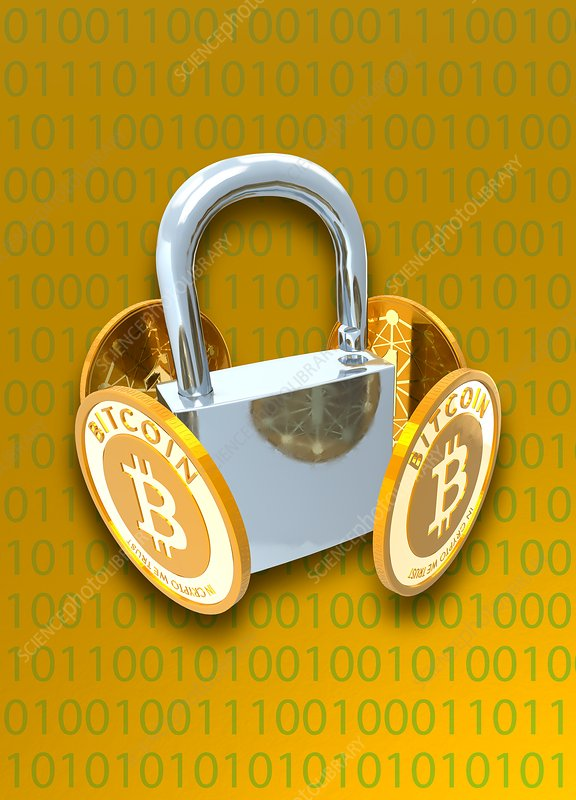 Bitcoins and padlock, illustration
