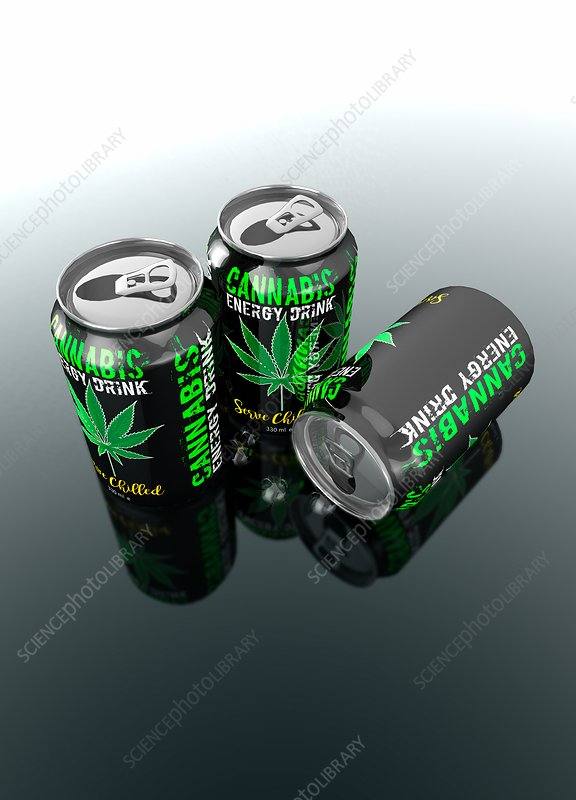 Cannabis energy drinks cans, illustration