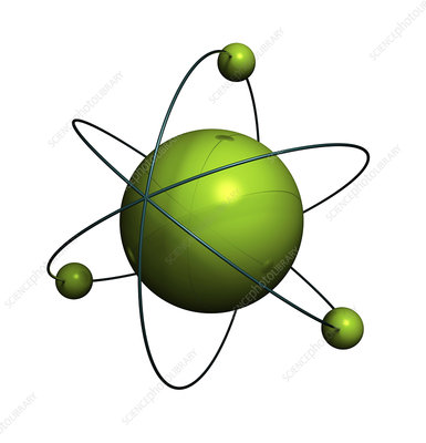 Green atoms against white background