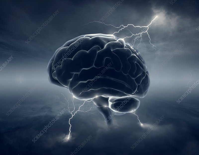 Human brain with lightning