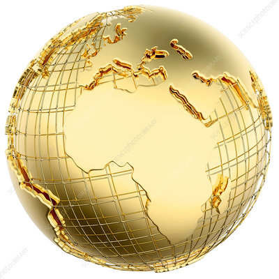 Gold globe showing the Americas