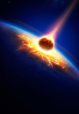 Planet earth being hit by asteroid