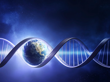 DNA strand and planet earth