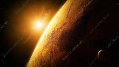 Planet Mars lit by the sun