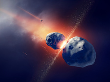 Asteroids colliding in space