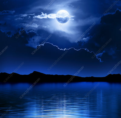 Moon and clouds above water
