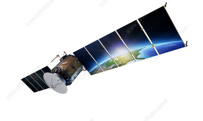 Satellite with earth reflected