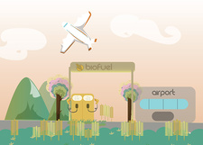 Airplane with biofuel pump at an airport, illustration