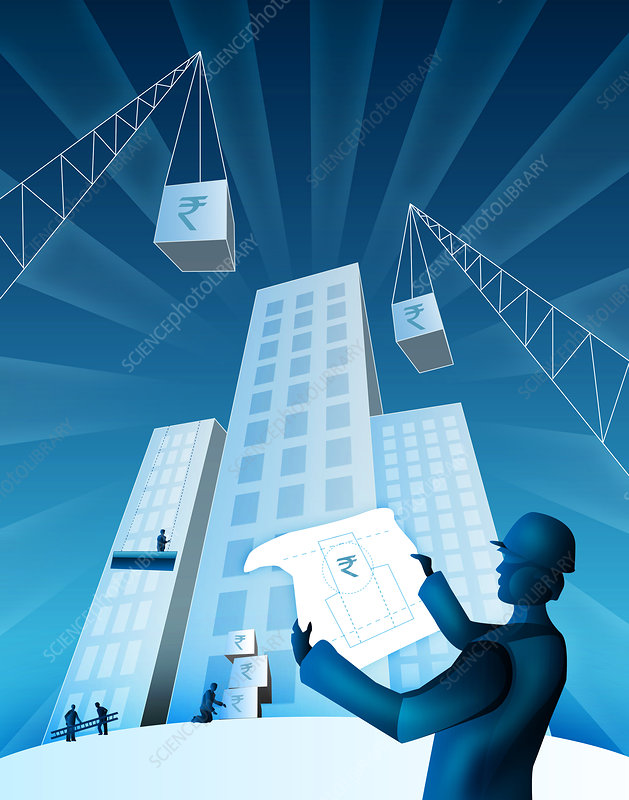 Architect holding a blueprint, illustration