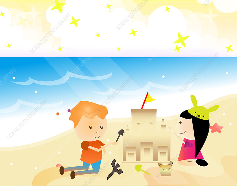 Boy and a girl playing with sand on the beach, illustration