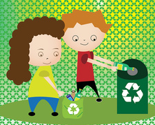 Boy and a girl recycling, illustration