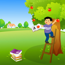 Boy holding a book and climbing an apple tree, illustration