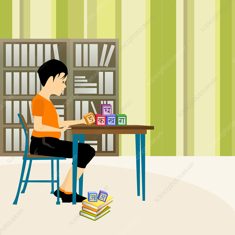 Boy playing with alphabet blocks in a library, illustration