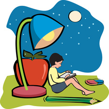 Boy reading a book, illustration