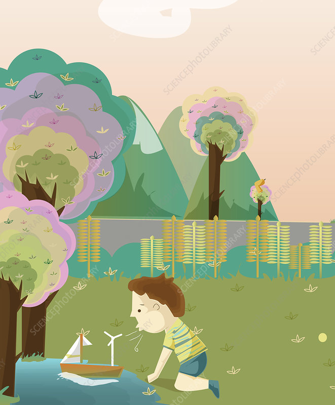 Boy with a boat and wind turbine, illustration