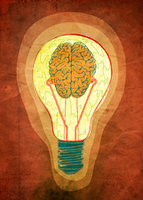 Brainwaves in light bulb, illustration