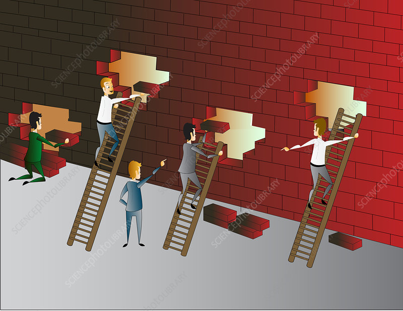 Building a brick wall, illustration