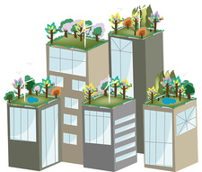 Buildings with green roofs, illustration