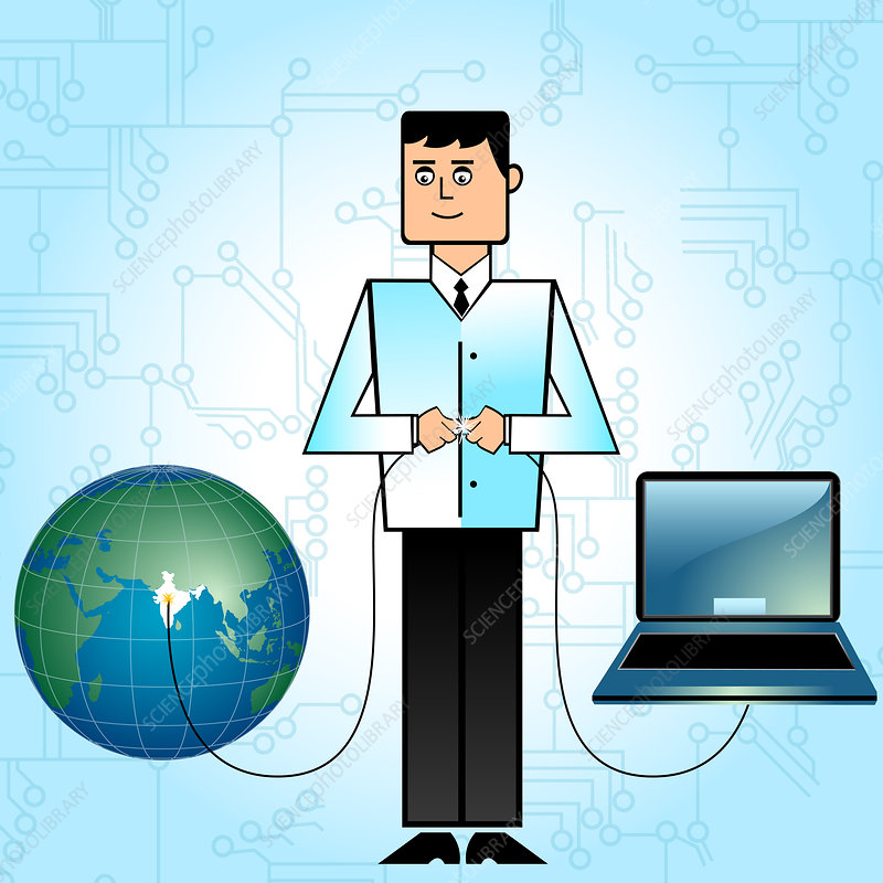 Businessman connecting India with network, illustration
