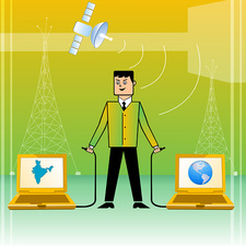 Businessman connecting India with World, illustration
