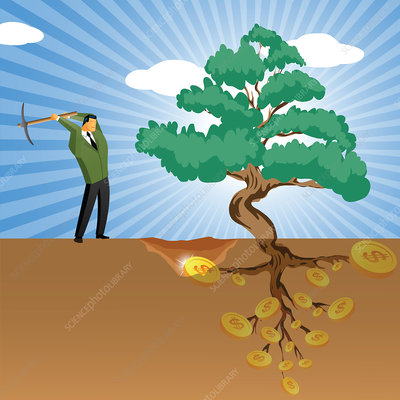 Businessman digging near a money tree, illustration