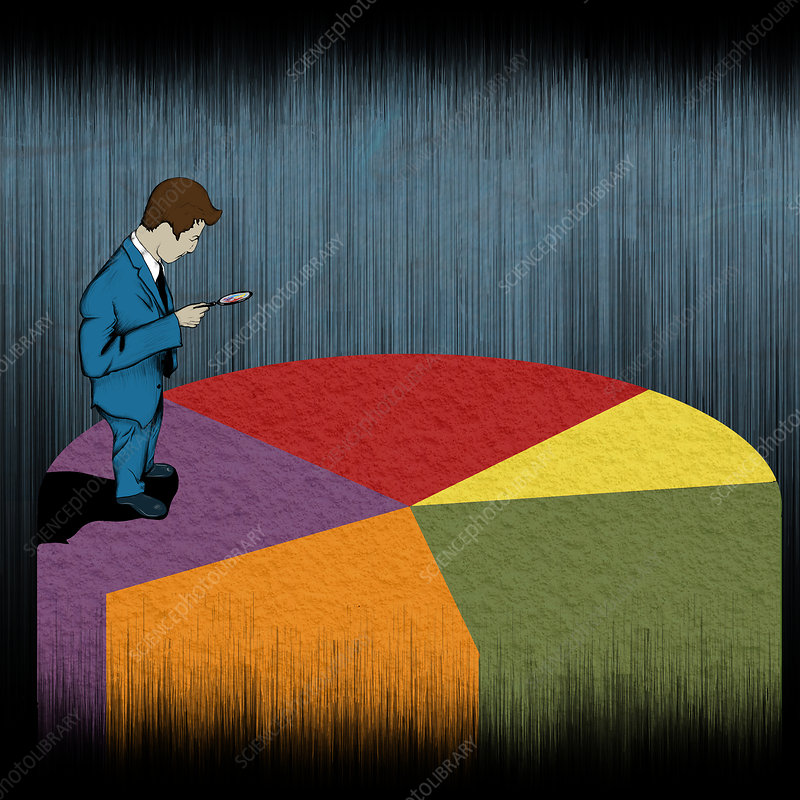 Businessman examining a pie chart, illustration