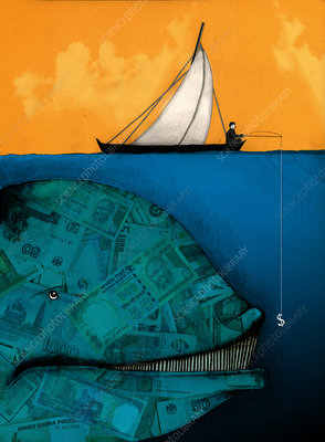 Businessman fishing for a large money whale, illustration