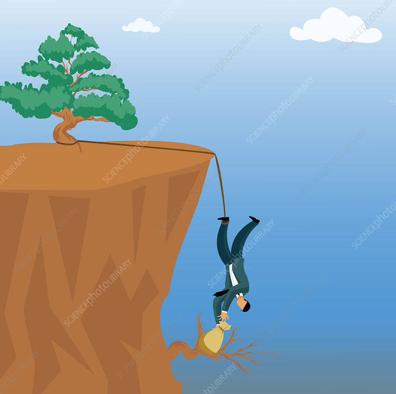 Businessman grabbing a money bag from a cliff, illustration