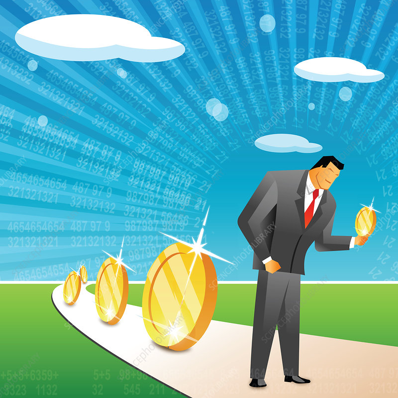 Businessman holding a coin, illustration