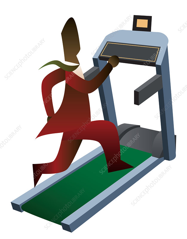 Businessman running on a treadmill, illustration