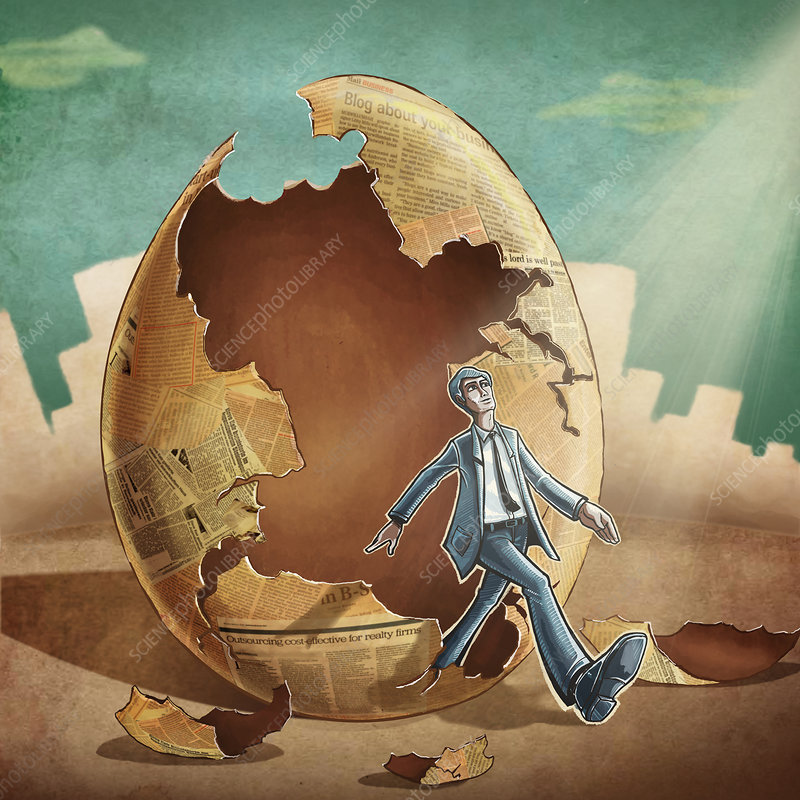 Businessman stepping out from egg, illustration