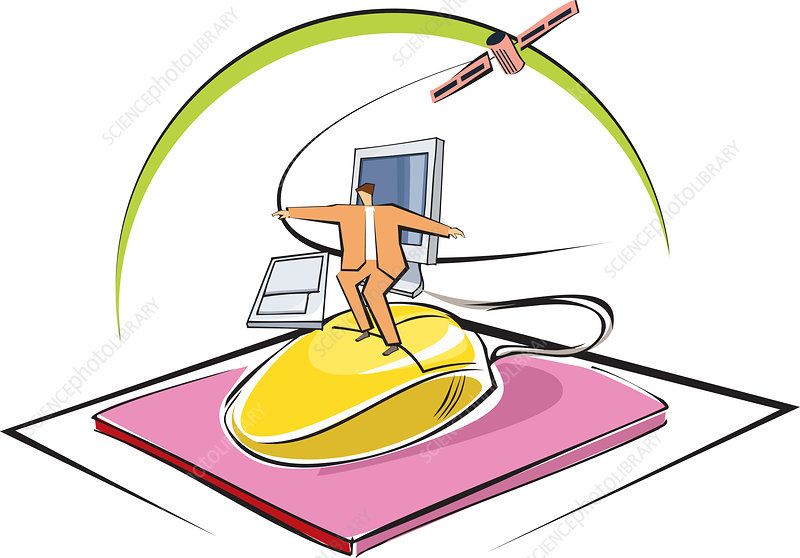 Businessman surfing on a computer mouse, illustration