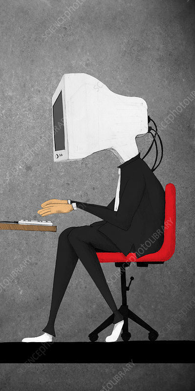 Businessman with a computer in place of head, illustration