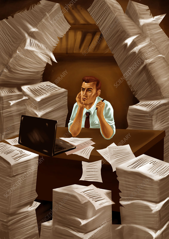 Businessman with heap of papers, illustration