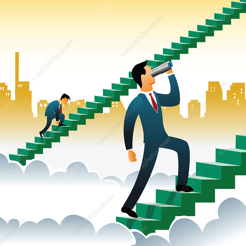 Businessmen climbing up steps over the clouds, illustration