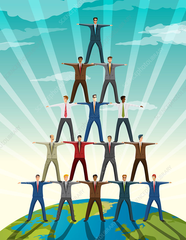 Businesspeople standing in pyramid formation, illustration