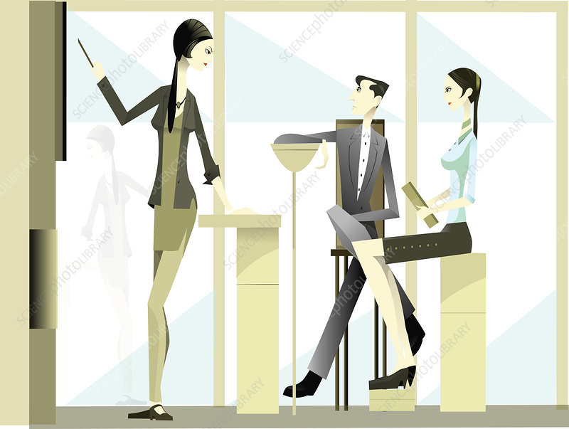 Businesswoman giving presentation, illustration
