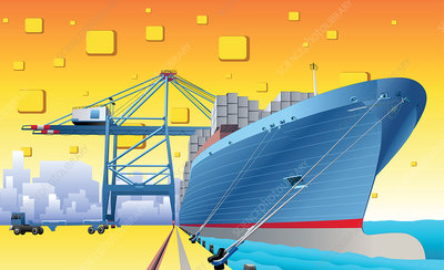 Cargo ship at a dock, illustration